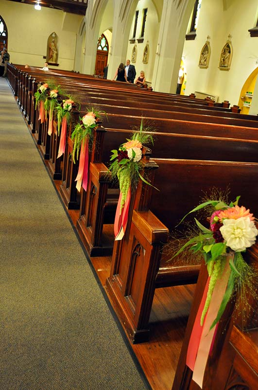 church bench decorations wedding wedding flowers boutonnieres corsages cranford 2941